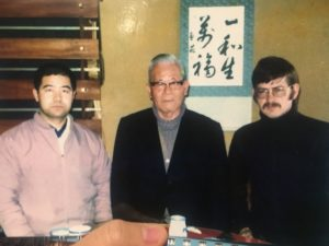 Higaonna Morio Sensei, Gima Makoto Sensei and Liam Keeley
